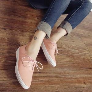hexiajia - Scarpe Basse Stringate donna Pink