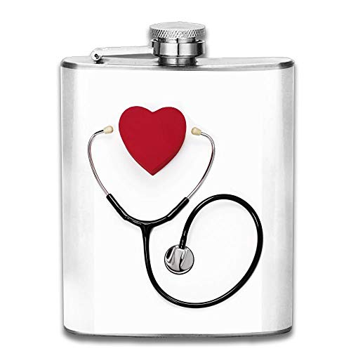 Gxdchfj Stethoscope and Heart On White New Brand 304 Stainless Steel Flask 7oz