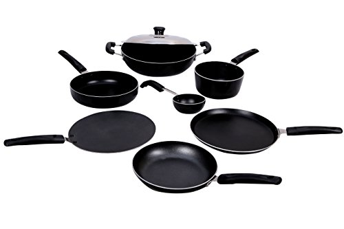 KG Star Non-Stick Cookware Combo 8-Pieces (Black)
