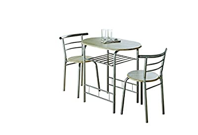 0076-Modern Oak Dining Table and 2 Chairs Set Metal Frame Kitchen - inexpensive UK light shop.