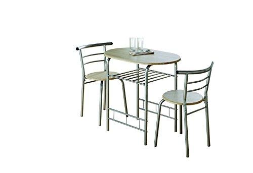 Esstisch Set Stühle (0076-modern Eiche Esstisch und 2Stühle Set Metall Rahmen Küche)