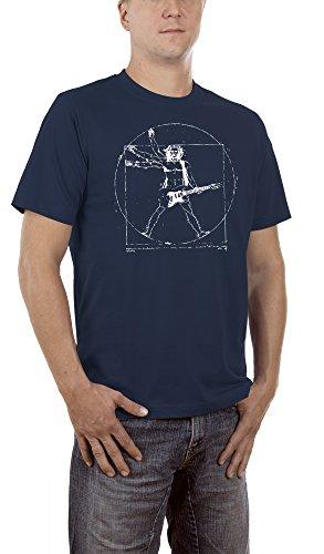 Kostüm Schere Rock Halloween Papier (Touchlines Herren T-Shirt Da Vinci Rock Guitar Blau (Navy 18),)
