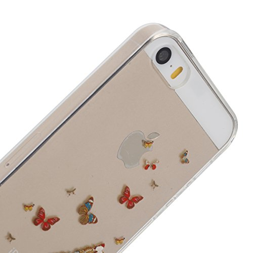 Apple iphone SE Transparent Silikon Case,iphone 5s hülle,Ekakashop Ultra dünn Slim Durchsichtig Transparente Muster Crystal Gel Silikon TPU Motiv Bumper Cas Schutzhülle Etui Tasche Cover Schutz Hüllen Schmetterling betuchte