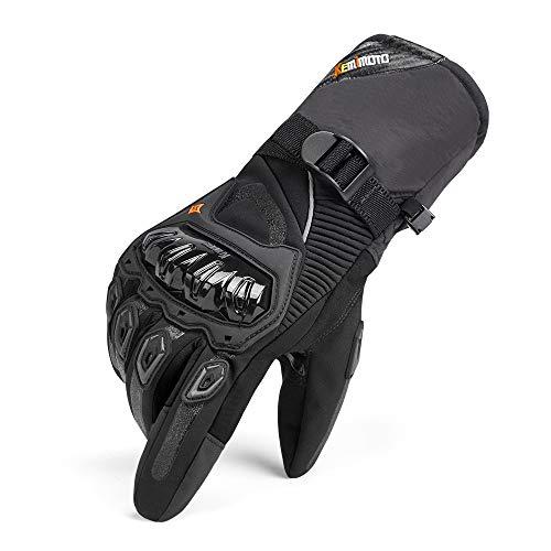 Guanti Moto Uomo Invernali, Impermeabili Guanti da Moto Touch Screen Hard Knuckle Protettivo per Motocross Motociclista Uomo Donna Nero L