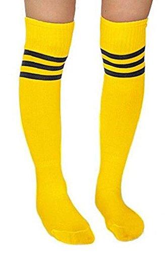 Baseball Socken,Vococal - 2 Paar Unisex Sport Lange Socken / Kniestrümpfe - Damen Herren Streifenmuster Sportsocken - Fußball / Baseball Rohr-Socken, Gelb + schwarz (Baseball-socken Schwarze)