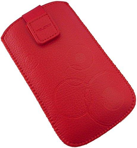 Handyschale 24 Slim Case für Bea-Fon SL470 Handyschale Rot Schutzhülle Tasche Cover Etui mit Klettverschluss