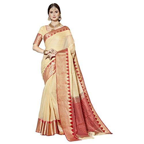 Triveni Blended Cotton Beige Festival Wear Woven Traditional Sarees