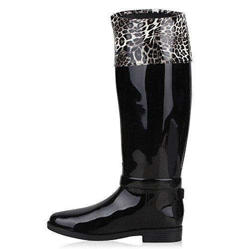 Damen Stiefel Gummistiefel Boots Gesteppte Regenschuhe Wasserdicht Schwarz Leo