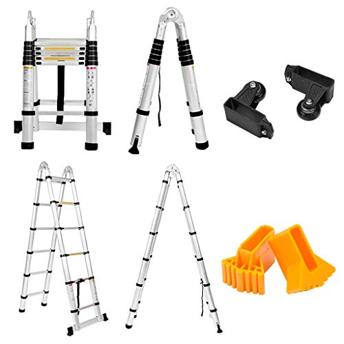 Finether-3.8M Escalera Telescópica Plegable (12.5FT, Multi-propósito Extensible, Buena Calidad, Mayor Seguridad, Aluminio)