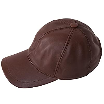 Leather Cap 100% Lammfell Leder Basecap - Leather Baseball Cap - Herren-Cap - Basecap Hellbraun, Light brown -Baseballmütze - Herrencap - Sportmütze - Western cap- leder cap + Geschenk