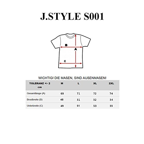 BOLF Herren T-Shirt Tee Kurzarm Rundhals Slim Fit Party Classic Print J.STYLE S001 Anthrazit