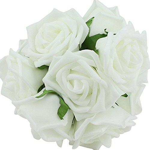 Künstliche Blumen Milchsaft Rosen Hochzeit Bouquet Ansteckblume (Weiß)