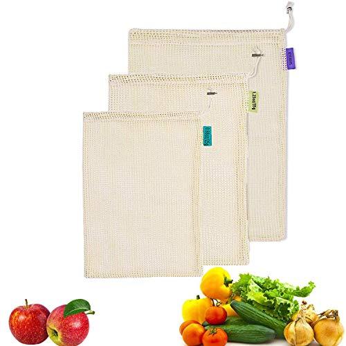 Kyerivs Reusabl Zero Abfallbeutel aus Bio-Baumwolle für Obst und Gemüse, Kunststoff, 3 Stück (L, M, S), Stoff -
