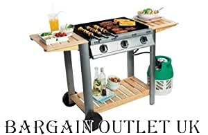 3 BURNERWOOD & METAL FLATBED GAS BARBECUE,BBQ WITH LID RRP £249.99