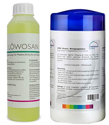 2er Set Löwosan Reinigungsmittel CPAP Spezialreiniger Masken Maskenreiniger und Reinigungstücher für Schlafmasken -