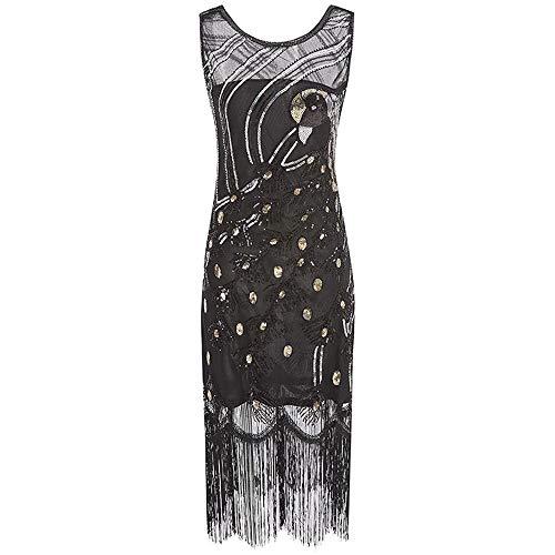Great Gatsby Kleid Damen Retro 1920er Pfau Muster Pailletten Quasten Perlen Art Deco Scalloped Saum Inspiriert Flapper Kleid Party Damen ()