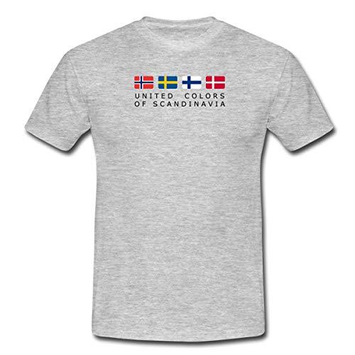 Spreadshirt United Colors of Scandinavia Finnland Norwegen Schweden Dänemark Männer T-Shirt, L, Grau meliert