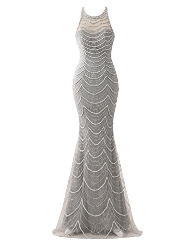 Erosebridal Ärmellose Diamant Meerjungfrau Neue Abendkleider Luxus Elegante Ballkleider DE 38 Grau