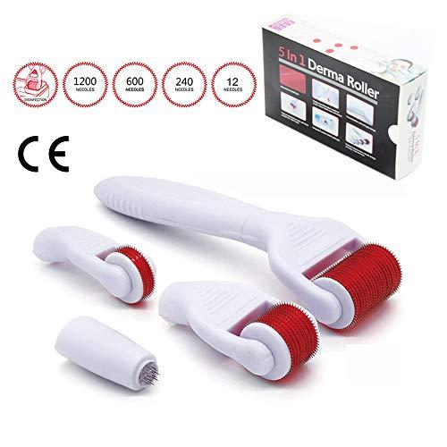 DermaRoller 5 in 1 Derma Roller Titan Nadeln, Wirksam bei Akne, Falten und Anti-Aging,0.5mm,1,0mm,1,5mm,2,0 mm für Körper, Gesicht, Augen
