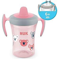 Nuk Trainer Cup Tasse Antifuite, Embout Souple, étanche, à Partir de 6Mois, sans BPA, 230ml, Koala, Rose