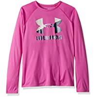 Under Armour Girls Big Logo Long sleeve Shirt, Fluo Fuchsia (565)/Techno Teal, Youth X-Small (1305686-565-Youth X-S)