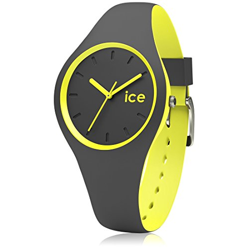 Ice-Watch - ICE duo Anthracite Yellow - Graue Herrenuhr mit Silikonarmband - 001486 (Small)