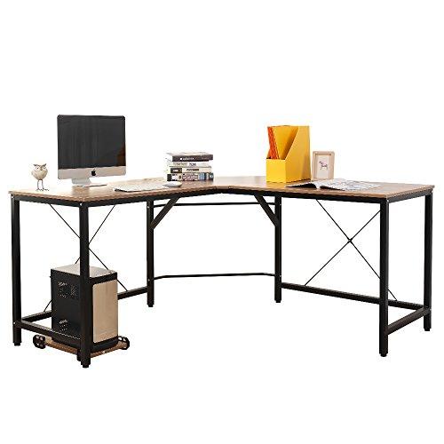 SogesHome L-Form Computertisch Großer Eckschreibtisch Arbeitstisch Bürotisch PC Laptop Studie Tisch Gaming Schreibtisch,Eiche CS-ZJ02-OK-SH