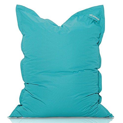 Livodoo® XXL-Premium-Riesen-Sitzsack in Türkis 140x180cm 14 verschiedene Farben 400l-Füllung-Sitzsack-Indoor-Outdoor mit Innensack Sitzkissen Bodenkissen Kissen Sessel BeanBag Sitzsack XXL