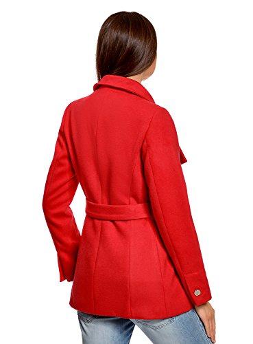 oodji Ultra Damen Mantel mit Gürtel und Asymmetrischem Verschluss Rot (4500N)