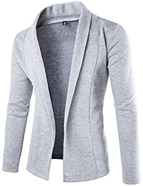 Casual Manga Larga Cárdigans para Hombre, Honghu Ocio Largo Sweater Outwear Gris claro M