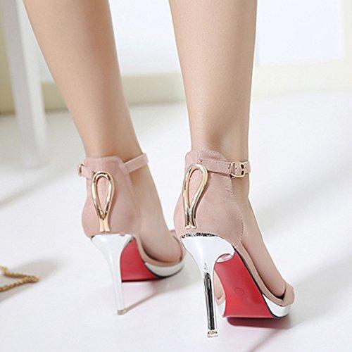 Oasap Damen Klassisch Offen High Heels Schnalle Sandalen Pink