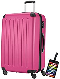 Hauptstadtkoffer® Valigia (128 litri) con un lucchetto TSA Seria SPREE (Colore Rosa con 1 ciondolo per la valigia)