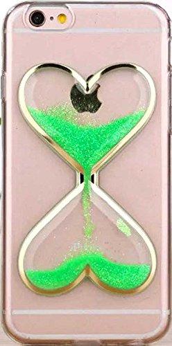 FUN CASE Herz für Apple iPhone 4 iPhone 4S / 4G Handy Cover Hülle Case Glitzer Sterne Flüssig Sternenstaub Hard Case (grün) grün