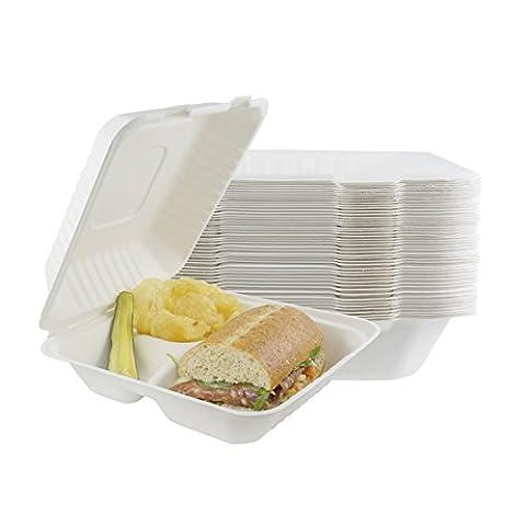 Houseables de sortir des conteneurs de nourriture, pizzas Clamshell récipient, Lot de 100, Blanc, 20,3x 20,3cm, 3compartiments, 100% jetables, boîtes de nourriture à emporter, biodégradable Box, restaurant Fournitures, au micro-ondes
