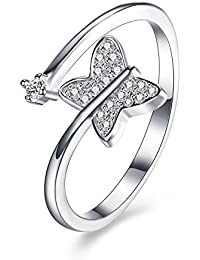 ischmuck Anillo Plata de ley 925circonita plata mariposa boda wedding tamaño ajustable abierto de bodas Mujer