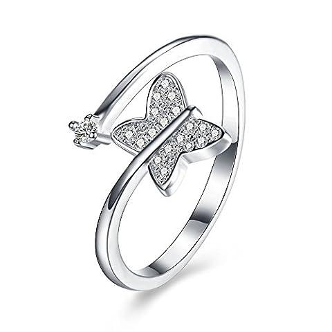balansoho 925Sterling Silber Schmetterling Zirkonia vorne offen Ring größenverstellbar feinen