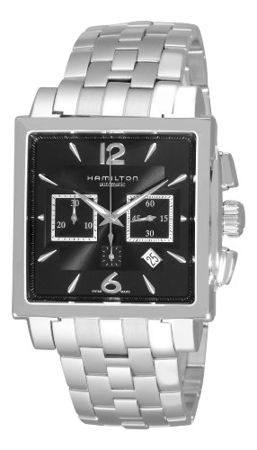Hamilton Men's H32666135 Jazzmaster Black Square Chronograph Dial Watch