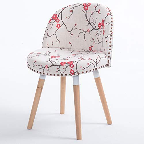 CKH Nordic Home Kreative Massivholz Esszimmerstuhl Kaffee Stuhl Zurück Schreibtisch Hocker Einfache Moderne Computer Erwachsene Studie Stuhl Rote Kirschblüte