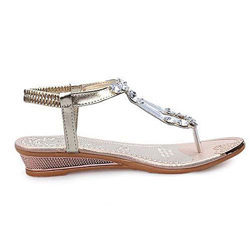 Bhydry sandali estivi donna strass flats platform zeppe scarpe infradito(38eu,oro)