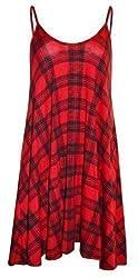Womens Ladies Camisole Check Tartan Flared Sleeveless Vest Swing Long Dress Top