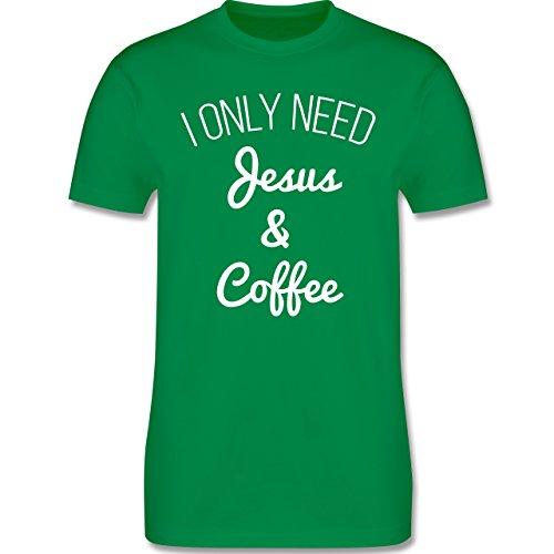 Statement Glaube Religion - I only need Jesus and Coffee weiss - Herren T-Shirt Grün