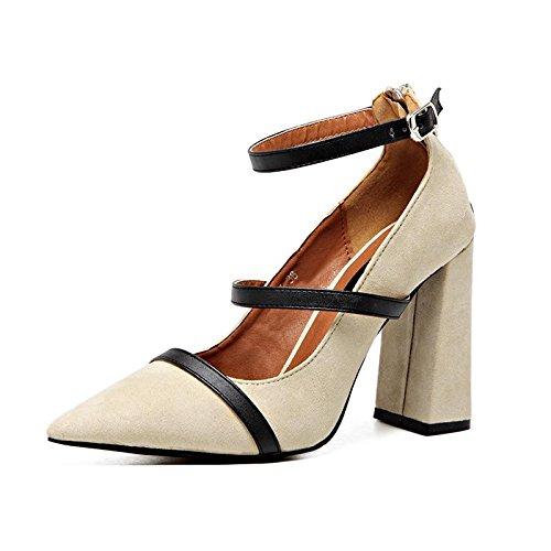 LvYuan-mxx Sandales pour femmes / été et printemps / autour de la boucle / talon Chunky / pointe pointu bouche superficielle / Bureau et Carrière / Vêtements / Casual / chaussures à talons hauts APRICOT-37