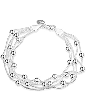 Styleziel Damen Armband 925 Silber pl tolles Multiarmband mit kleinen Kugeln 21cm 2183