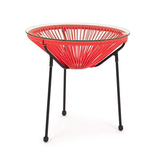 ARREDinITALY Table Basse d'extérieur en métal avec Plateau en Verre et Cordes Rouges