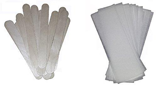 100 Vliesstreifen 20x7cm + 100 Holzmundspatel 150mm zur Haarentfernung Warmwachs, Wachpatronen, Zuckerpaste