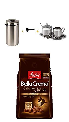 Xavax Edelstahldose für 1kg Kaffeebohnen, Tee, Kakao, mit Aromadeckel silber ++Xavax Milch- und Zucker-Set aus Edelstahl, 3-teilig + Melitta® BellaCrema® Selection des Jahres 2018, Kaffeebohnen, 1000g