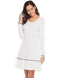 Nachthemd Damen Langarm Baumwolle Punkte Muster Sleepshirt Kurz Sleepkleid Einteiler Nachtwäsche Nachtkleid Schlafhemd Knielang