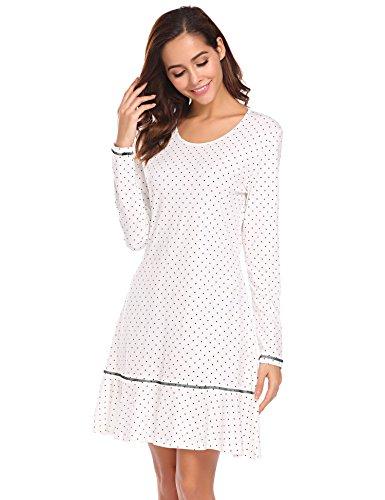 Meaneor Fashion Origin  Nachthemd Damen Langarm Baumwolle Schlafanzug Lang Nachtkleider mit Punktmuster Dekoration Knielang Nachtwäsche lang, Weiß 8725 ,  XXL -
