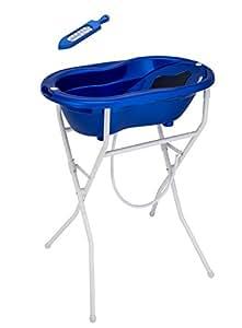 Rotho Babydesign Komplett-Badeset mit Wanne und Klapp-Ständer, 0-12 Monate, Royal blue pearl (Blau), TOP ideale Badelösung, 21036026501