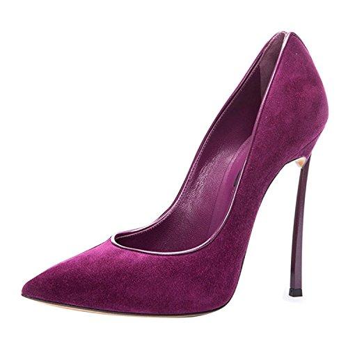 Größe Stiletto Pumps Große Rutsch Hochzeit Zehen High heels Damen Party Spitze Samt violett Bq56F